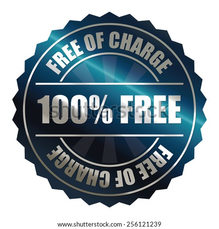 blue metallic 100% free of charge badge, sticker, icon, label, sign, banner isolated on white  - stock photo