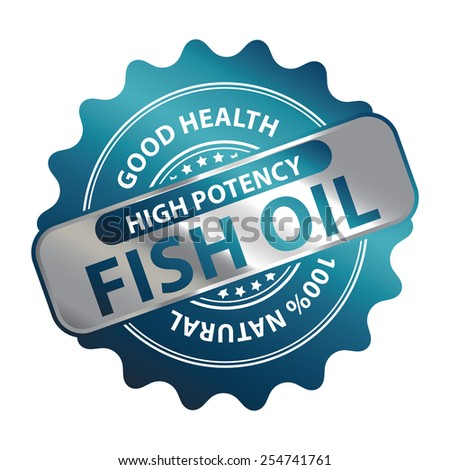 Blue Metallic High Potency Fish Oil Good Health 100% Natural Icon, Label, Badge or Sticker Isolated on White Background  - stock photo