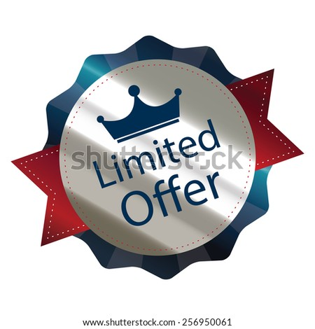 blue metallic limited offer sticker, sign, badge, icon, label isolated on white - stock photo