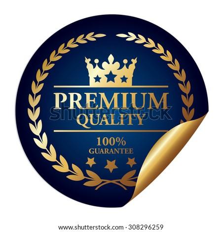 Blue Metallic Premium Quality 100% Guarantee Infographics Peeling Sticker, Icon, Badge, Sign or Label Isolated on White Background  - stock photo