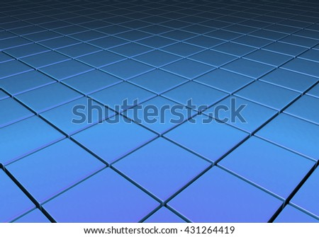 Blue metallic reflective surface comprised of cubes in a grid pattern - stock photo