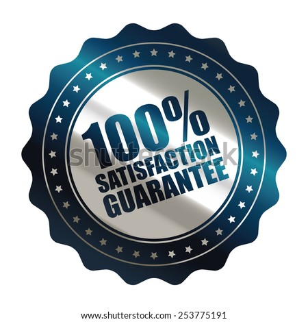 blue metallic 100% satisfaction guarantee icon, tag, label, badge, sign, sticker isolated on white  - stock photo