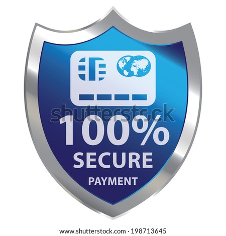 Blue Metallic Shield With 100 Percent Secure Payment Sign Isolated on White Background - stock photo