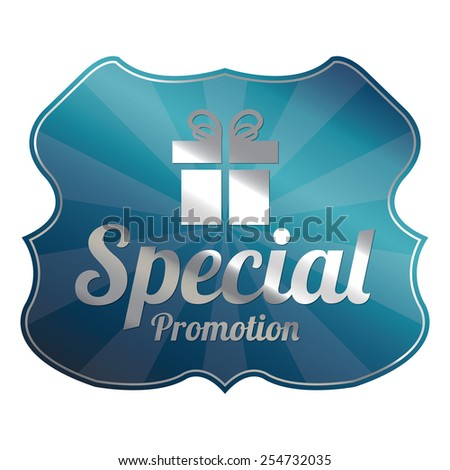 Blue Metallic Special Promotion Badge, Icon, Label, Sign or Sticker Isolated on White Background  - stock photo