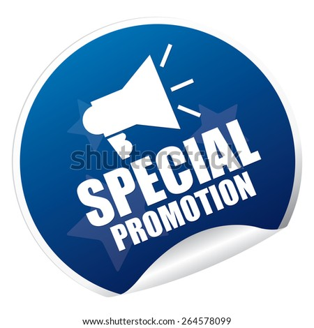 Blue Metallic Special Promotion Sticker, Icon or Label Isolated on White Background  - stock photo