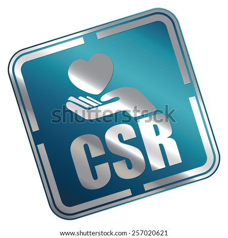 Blue Metallic Square CSR Icon, Sticker, Banner, Tag, Sign or Label Isolated on White Background - stock photo