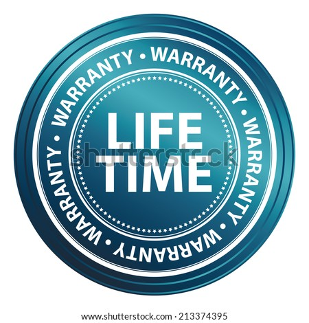Blue Metallic Style Lifetime Warranty Icon, Badge, Label or Sticker for Product Warranty, Quality Control, Quality Assurance, Quality Management, CRM or Customer Satisfaction Concept Isolated on White - stock photo