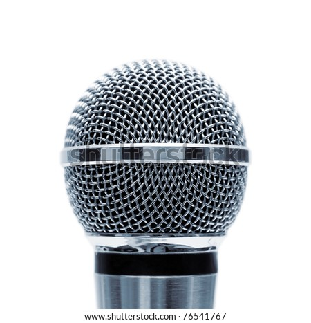 Blue microphone isolated on white background - stock photo
