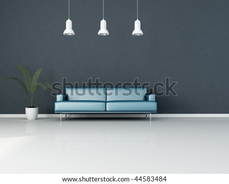 blue minimalist interior with modern couch and plant - rendering