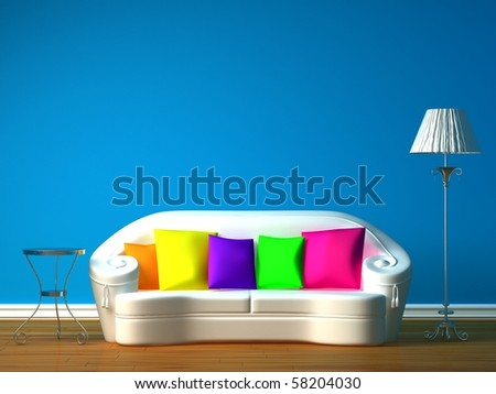 blue minimalist living room with white couch, table and standard lamp - stock photo