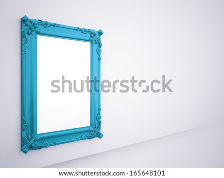 Blue mirror frame rendered on the wall - stock photo