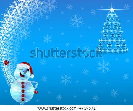 Blue mirrorballs christmas tree and mirrorman - stock photo