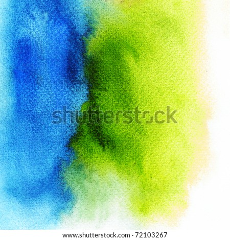 Blue mix green Wet on wet abstract watercolors - stock photo