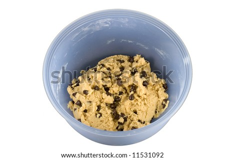 Blue mixing bowl with Chocolate Chip Cookie Dough isolated on white - stock photo