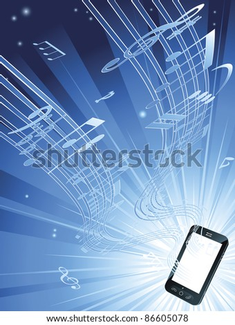 Blue mobile phone music background with musical notes streaming out of smart phone - stock photo