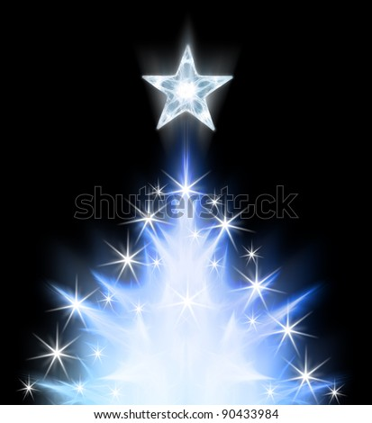 Blue modern abstract christmas tree - stock photo