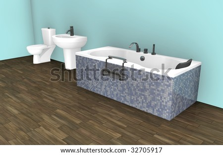 Blue Modern Bathroom Interior Design Decor Art