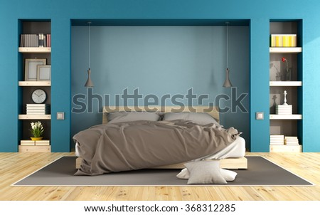 Blue modern bedroom with wooden bed and niche with books - 3D Rendering - stock photo