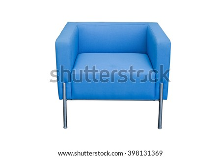 blue modern chair isolated on white background - stock photo