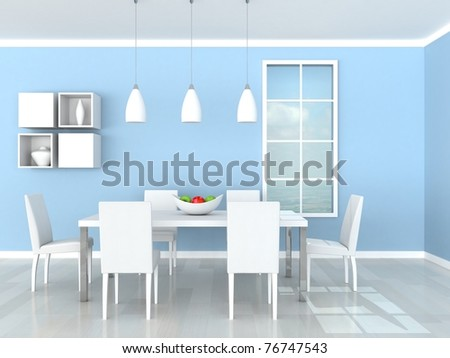 blue modern dining room - stock photo