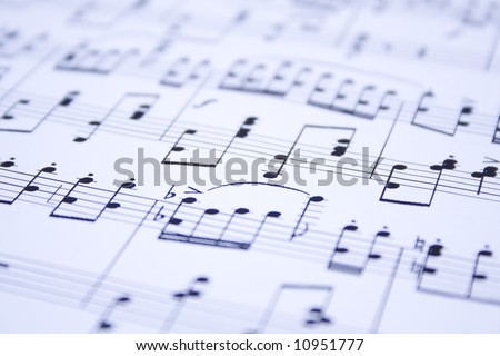 blue modern musical motes background - stock photo