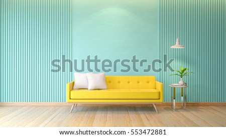 Blue Modern Room Interior, Yellow Sofa With White Lamp On Wood Flooring And  Light Blue