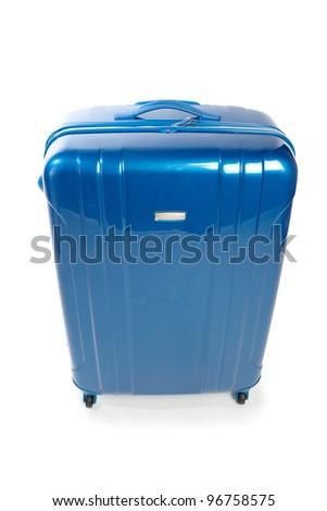 blue modern travel suitcase isolated on white - stock photo