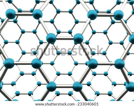 Blue molecular mesh structure rendered - stock photo