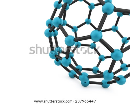 Blue molecular mesh tube structure rendered - stock photo
