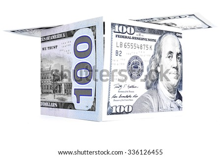Blue money shack, dollar cabin, currency hutch banknote house - stock photo
