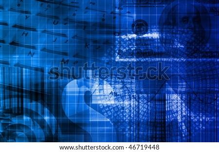 Blue Money Technology Business Background as Art - stock photo