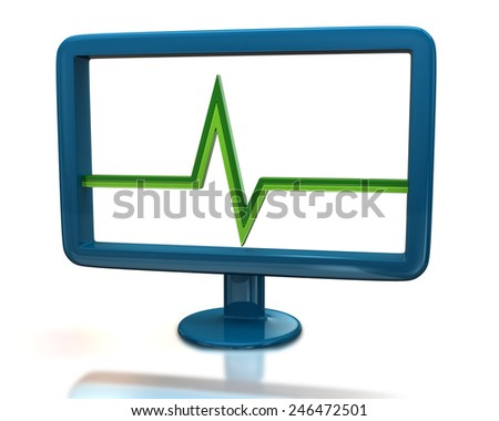 Blue monitor with green pulse sign - stock photo