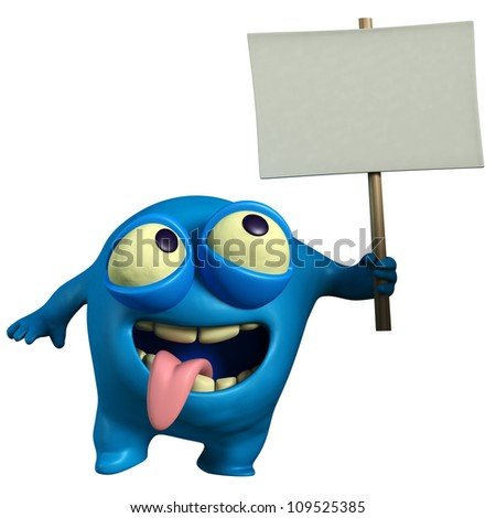blue monster holding placard - stock photo