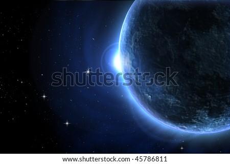 Blue moon eclipse - stock photo