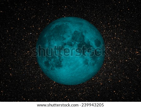 "blue moon in the space ""Elements of this image furnished by NASA "" - stock photo"
