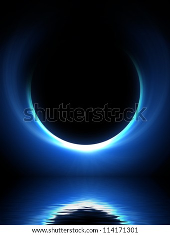 blue moon over cold night water - stock photo