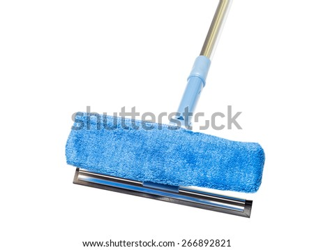 blue mop with a sponge on a white background