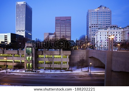 Blue morning in downtown Milwaukee, Wisconsin. - stock photo