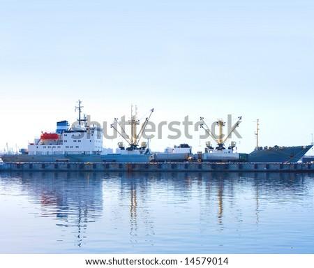 "blue morning in port -  of ""Transport"" series in my portfolio - stock photo"