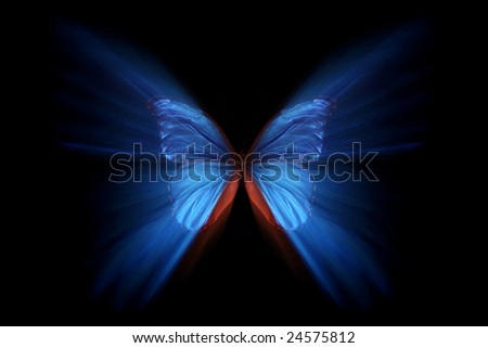 Blue morpho with zoom effect - stock photo