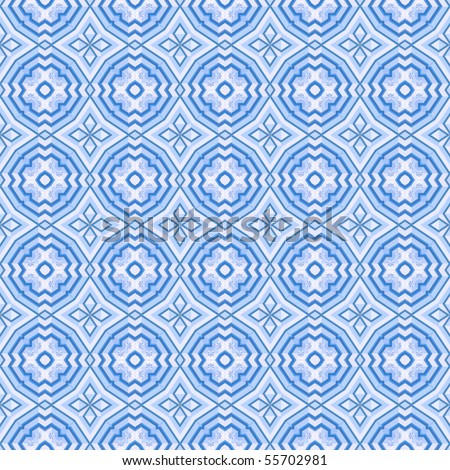 Blue mosaic seamless background with diamonds and crosses,