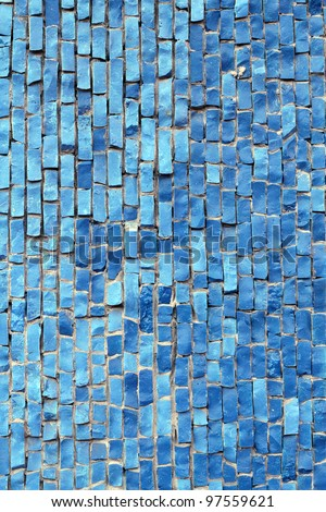 Blue mosaic tiles - stock photo