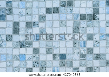 Blue mosaic tiles old small square - stock photo