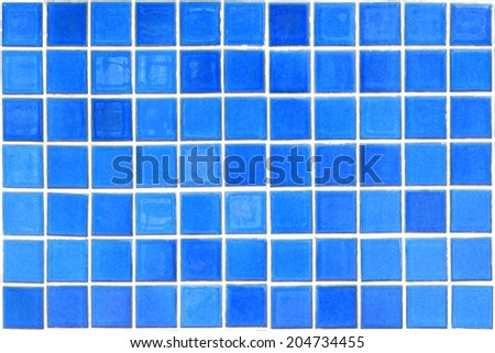 blue mosaic tiles texture with white filling - stock photo