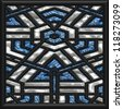 blue mosaic window - stock photo