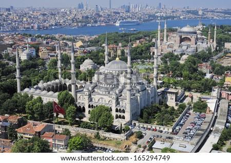 Blue Mosque and Hagia Sophia - stock photo
