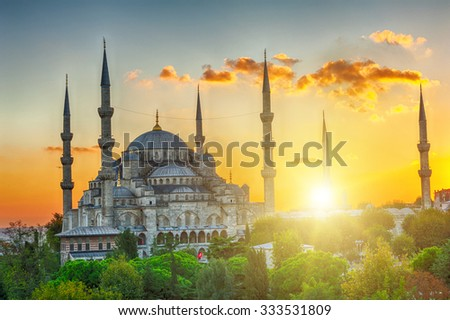Blue Mosque at beautiful sunset, Istanbul, Turkey. HDR - stock photo