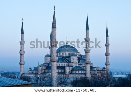 Blue Mosque at Dusk - stock photo