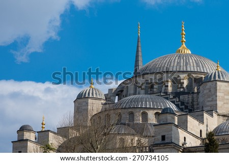 Blue mosque at Istanbul, Turkey. The biggest mosque in Istanbul of Sultan Ahmed (Ottoman Empire). - stock photo