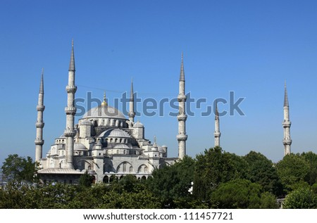 Blue Mosque at Night in Istanbul, Turkey - stock photo